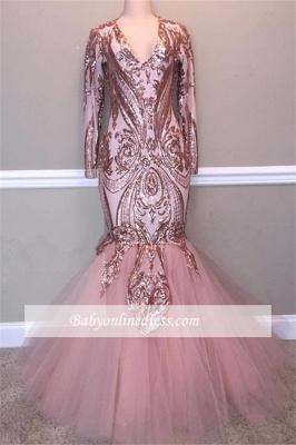 Elegant V-Neck Long-Sleeves Prom Dresses | Sequins Tulle Mermaid Evening Gowns_1