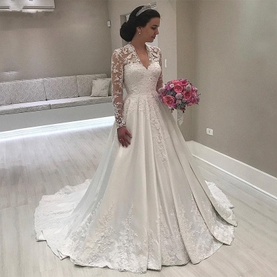 Luxury Lace Puffy Wedding Dresses | V-Neck Long Sleeves A-Line Bridal Gowns_2
