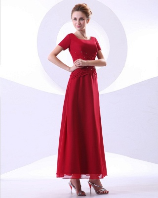 Chiffon Beading Pleated Ruffle Round Neck Ankle Length Mothers of Bride & Guests Dresses_7