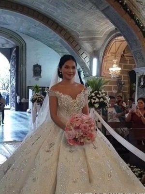 Luxury Sweep Train Ball Gown Wedding Dresses with Crystals_6