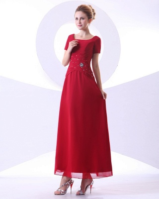 Chiffon Beading Pleated Ruffle Round Neck Ankle Length Mothers of Bride & Guests Dresses_8