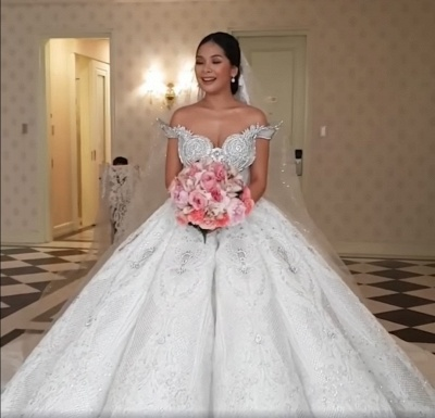 Luxury Sweep Train Ball Gown Wedding Dresses with Crystals_4