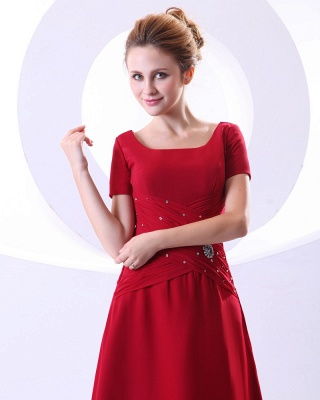 Chiffon Beading Pleated Ruffle Round Neck Ankle Length Mothers of Bride & Guests Dresses_2