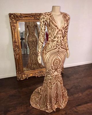 Sexy Deep V Neck Applique Sequin Long-sleeve Sequin Floor Length Mermaid Prom Dresses_2