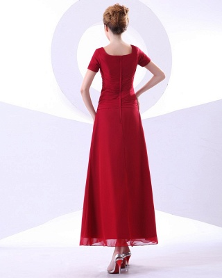 Chiffon Beading Pleated Ruffle Round Neck Ankle Length Mothers of Bride & Guests Dresses_3