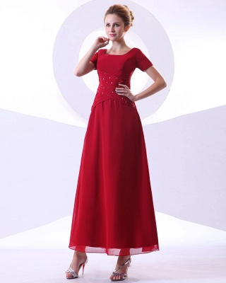 Chiffon Beading Pleated Ruffle Round Neck Ankle Length Mothers of Bride & Guests Dresses_1