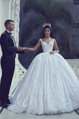Glamorous Lace Ball Gown Wedding Dresses | Straps Appliques Long Bridal Gowns_3