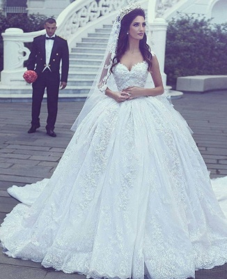 Glamorous Lace Ball Gown Wedding Dresses | Straps Appliques Long Bridal Gowns_4