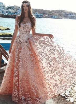 Exquisite Off-The-Shoulder Pink Floral Prom Dresses | Beaded Appliques A-Line Evening Dresses_5