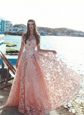 Exquisite Off-The-Shoulder Pink Floral Prom Dresses | Beaded Appliques A-Line Evening Dresses_2
