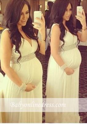 Long Newest A-line Maternity Dresses   V-Neck Beading Baby Shower Dress_3