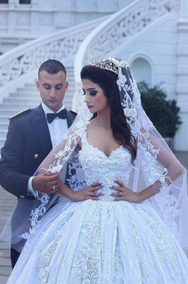 Glamorous Lace Ball Gown Wedding Dresses | Straps Appliques Long Bridal Gowns_5
