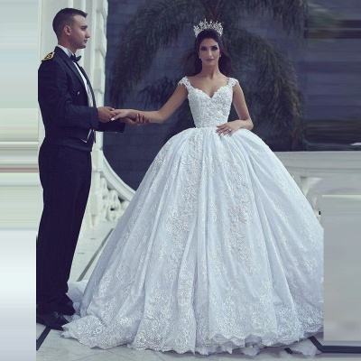 Glamorous Lace Ball Gown Wedding Dresses | Straps Appliques Long Bridal Gowns_2