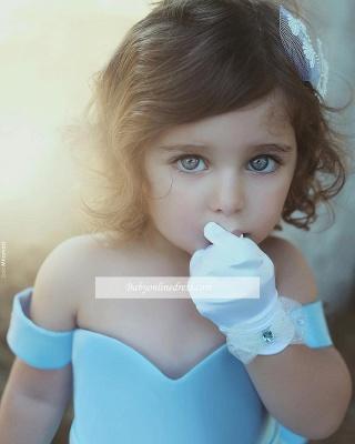 Lovely Simple Bow Blue Off-the-Sholder Flower-Girls Dresses_1