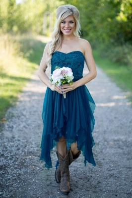 2021 Teal Country Bridesmaid Dresses Lace Top Tiers Chiffon Hi-Lo Party Dresses for Wedding_1