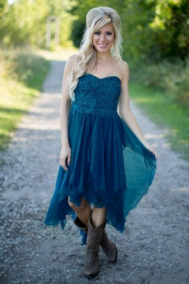 2021 Teal Country Bridesmaid Dresses Lace Top Tiers Chiffon Hi-Lo Party Dresses for Wedding_3
