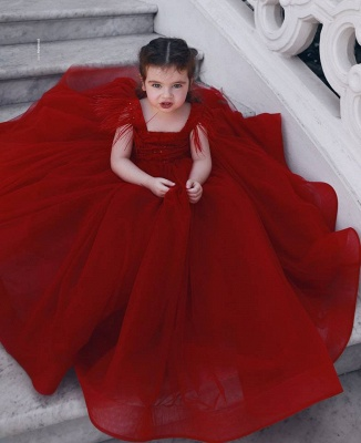 Cute Red Ball Gown Flower Girl Dresses | Scoop Cap Sleeves Kids Pageant Dresses_3