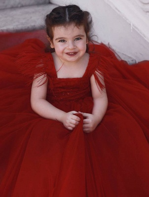 Cute Red Ball Gown Flower Girl Dresses | Scoop Cap Sleeves Kids Pageant Dresses_2