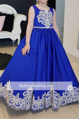 A-Line Straps Appliques Floor-length Flower Royal Blue Girl dresses_3