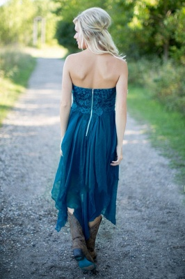 2021 Teal Country Bridesmaid Dresses Lace Top Tiers Chiffon Hi-Lo Party Dresses for Wedding_5