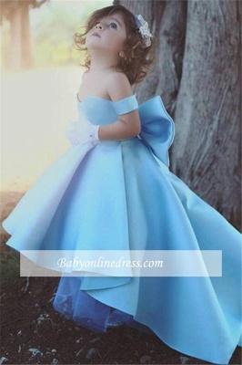 Lovely Simple Bow Blue Off-the-Sholder Flower-Girls Dresses_3