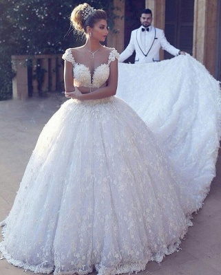Elegant Straps Ball Gown Wedding Dresses | Sexy Low Cut Lace Bridal Gowns_2