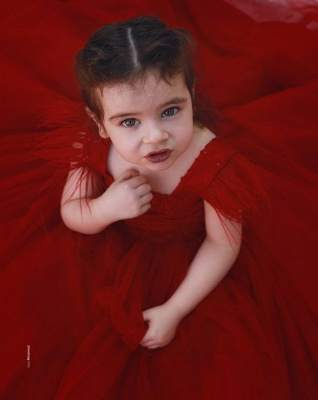 Cute Red Ball Gown Flower Girl Dresses | Scoop Cap Sleeves Kids Pageant Dresses_4