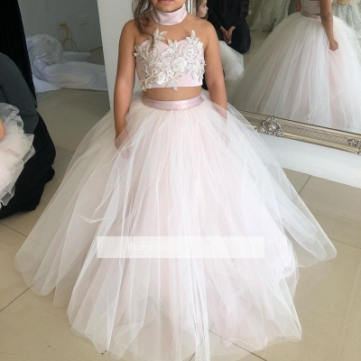 Pink Sweetheart Lovely Two-Pieces Flower Tulle Appliques Girl Dresses