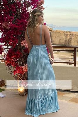 Charming Floor-length Formal V-neck Sheath Ruffles Evening Dress With-sash_3