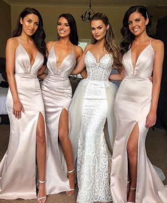 Sexy Slit Mermaid Bridesmaid Dresses | Spaghetti Straps Long Wedding Party Dresses_1