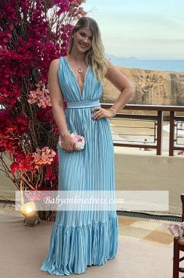 Charming Floor-length Formal V-neck Sheath Ruffles Evening Dress With-sash_2