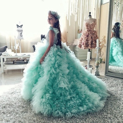 Beautiful Mint Flower Girls Dresses With Ruffles | Puffy First Communion Dresses For Little Girls Bow_2