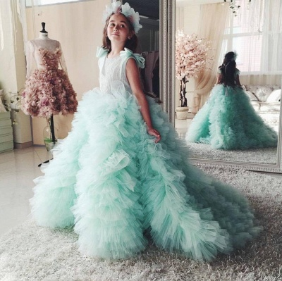 Beautiful Mint Flower Girls Dresses With Ruffles | Puffy First Communion Dresses For Little Girls Bow_3