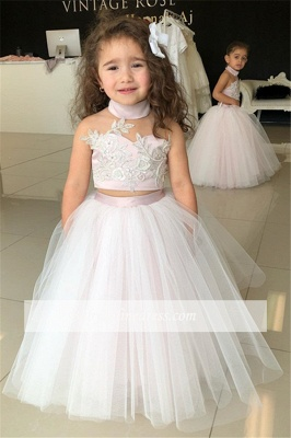 Pink Sweetheart Lovely Two-Pieces Flower Tulle Appliques Girl Dresses_5