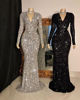 Shinny V Neck Long Sleeve Sequined Mermaid Floor Length Long Prom Dresses BC4158_2