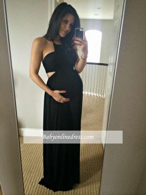Halter Maternity Sleeveless Dresses | Black Sexy A-line Baby Shower Dress_3