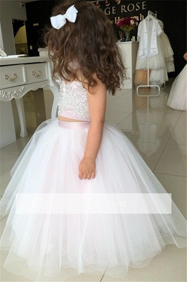 Pink Sweetheart Lovely Two-Pieces Flower Tulle Appliques Girl Dresses_4