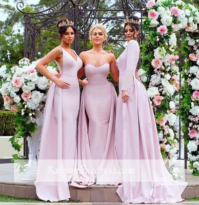 New Mermaid Bridesmaid Dresses   Long Sleeves Wedding Party Dresses with Overskirt_5