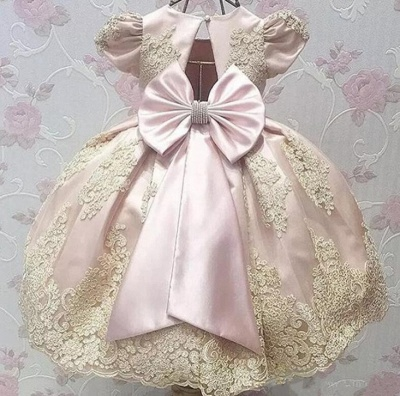 Cute Ball Gown Flower Girl Dresses With Bows | Girl's First Communication Dresses_2