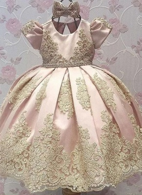 Cute Ball Gown Flower Girl Dresses With Bows | Girl's First Communication Dresses_1