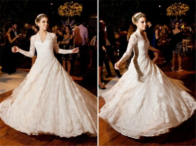 White Long Sleeves High Neck Vintage Lace A Line Wedding Dresses_3
