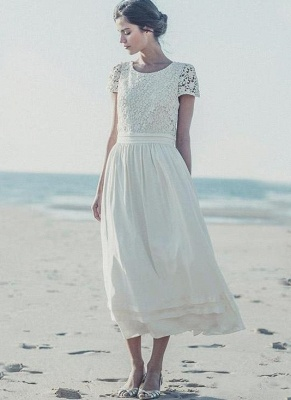 2021 Tea Length Wedding Dresses Boho Lace Top Short Sleeves Layered A-line Bridal Gowns_1