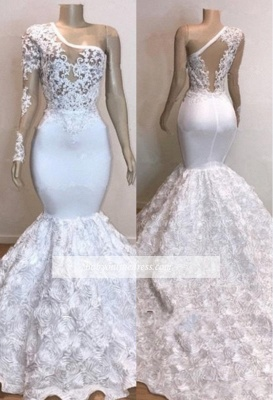 Charming One-Shoulder Long Sleeves Prom Dresses   Mermaid White Lace Evening Gowns_2