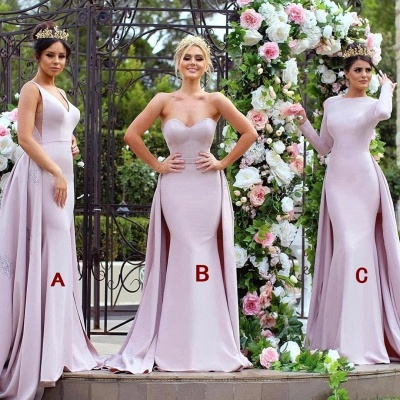 New Mermaid Bridesmaid Dresses   Long Sleeves Wedding Party Dresses with Overskirt_3
