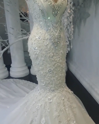Luxury Crystals Mermaid Wedding Dresses   Sleeveless Floral Appliques Bridal Gowns BC0391_4