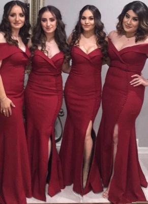 Elegant Burgundy Mermaid Bridesmaid Dresses | Off The Shoulder Silt Maid Of The Honor Dresses_1