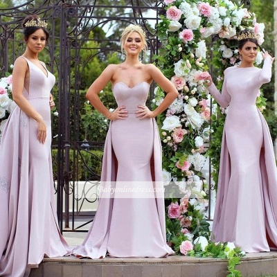 New Mermaid Bridesmaid Dresses   Long Sleeves Wedding Party Dresses with Overskirt_6