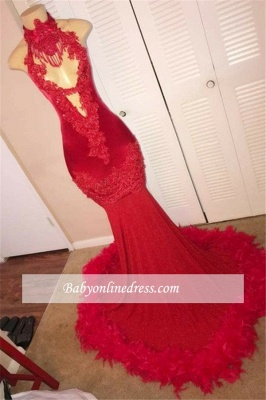 Applique Halter Mermaid Sleeveless Red Feather Evening Gown_1