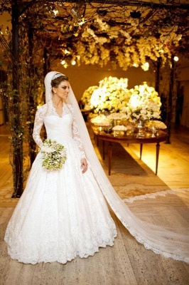White Long Sleeves High Neck Vintage Lace A Line Wedding Dresses_1