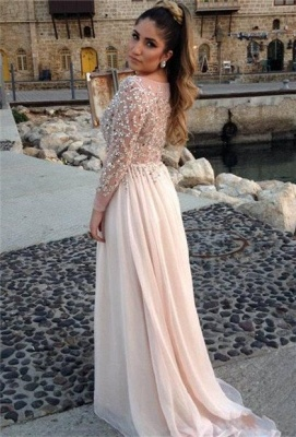 Long Sleeves Crystals Prom Dresses Scoop Neck Beaded Chiffon Court Train Evening Gowns_2